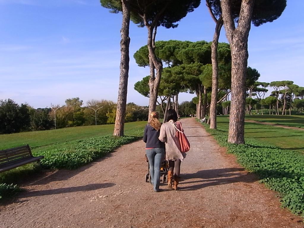 ローマのパンフィリ公園 散歩中